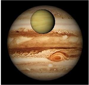 Компьютерная эмуляция  прохождения Венеры перед Юпитером 3 января 1818 г