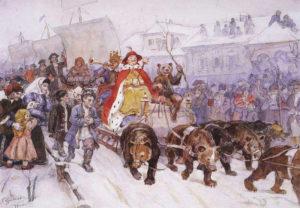 Рис.22 В.И. Суриков Большой маскарад в 1772 году на улицах Москвы с участием Петра I и князя кесаря И.Ф.Ромодановского 1900